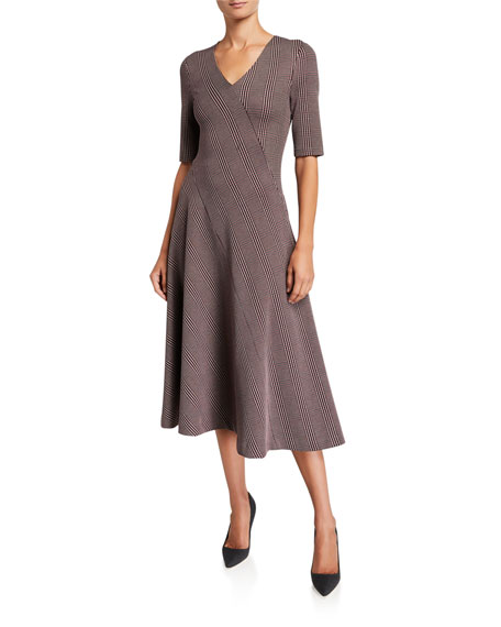 Rosetta Getty Plaid Double Knit Jersey Dress