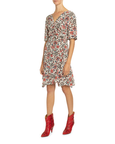 1/2-Sleeve Ruched Floral Print Dress