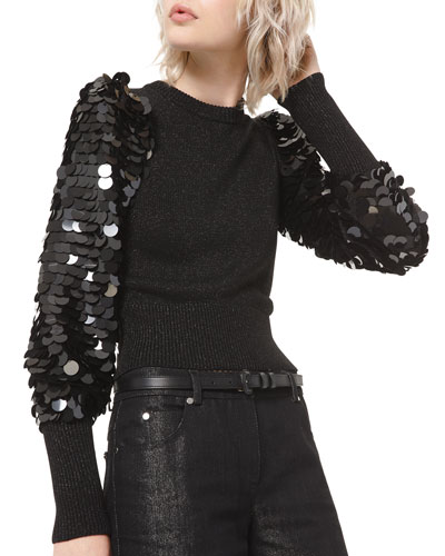 Sequined-Sleeve Sweater