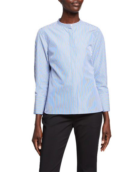 Partow Bell Pinstriped Button-Front Blouse