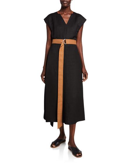 Partow Linen Belted Cap-Sleeve Dress