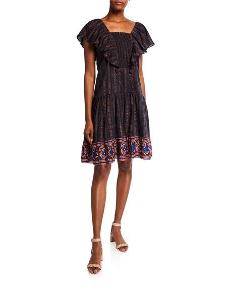 Figue Estella Cotton Square-Neck Dress