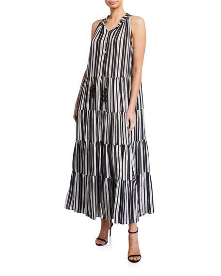 Figue Betty Puka Shell-Trim Striped Tunic Dress