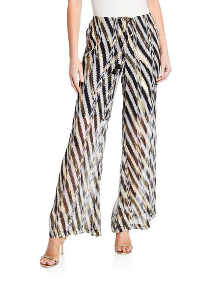 Figue Saanchi Metallic Chevron-Striped Pants