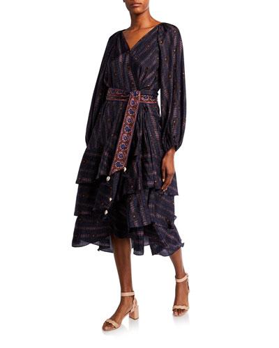 Kira Printed Silk Fit-&-Flare Wrap Dress