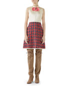 Gucci Sleeveless A-Line Dress w/ Tweed Skirt &