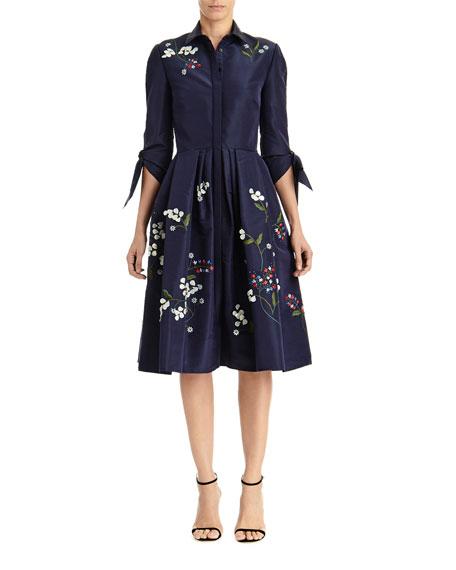 Carolina Herrera Floral Embroidered Tie-Sleeve Shirtdress