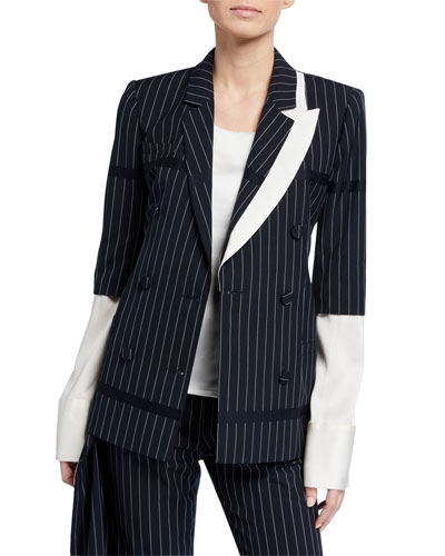 Santos Asymmetric Pinstriped Double-Breasted Blazer Jacket with Removable ...