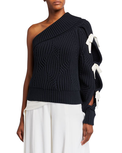 Saville One-Shoulder Lace-Up Sweater