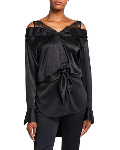 Fontana Silk Lace-Shoulder Blouse