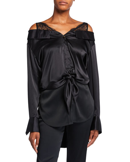 Hellessy Fontana Silk Lace-Shoulder Blouse