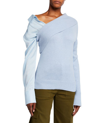 Joffe Silk-Cashmere Sweater with Detachable Shirt-Sleeve