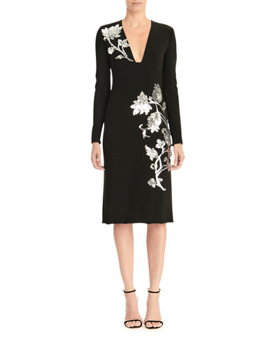 Sequin-Embroidered Deep-V Dress