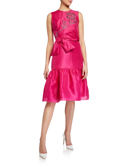 Carolina Herrera Embroidered-Taffeta Ruffled Dress