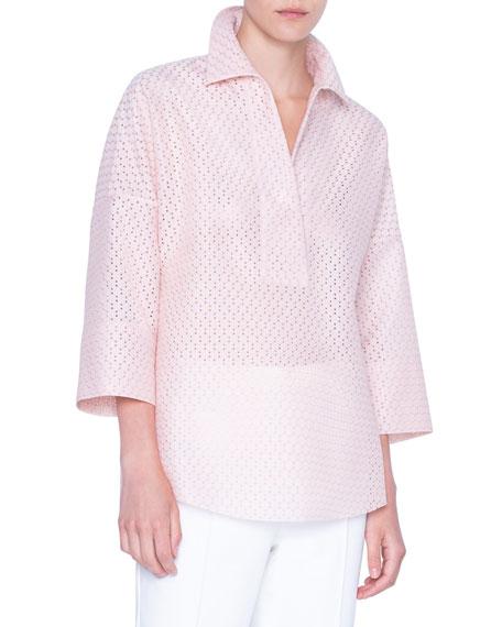 Akris punto Lace Kimono-Sleeve Blouse