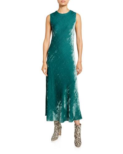 Velvet Corded Crewneck Dress, Green