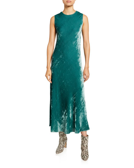 Sies Marjan Velvet Corded Crewneck Dress, Green