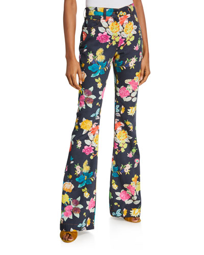 Exotic Floral Boot-Cut Jeans