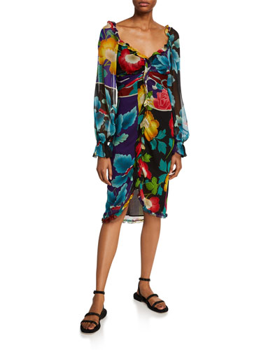 Draped Georgette Japanese Floral-Print Dress