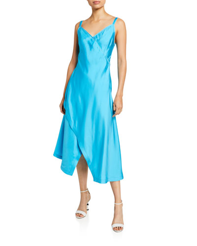 Satin V-Neck Asymmetric Slip Dress