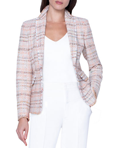 Checked Tweed Faux Double-Breasted Jacket