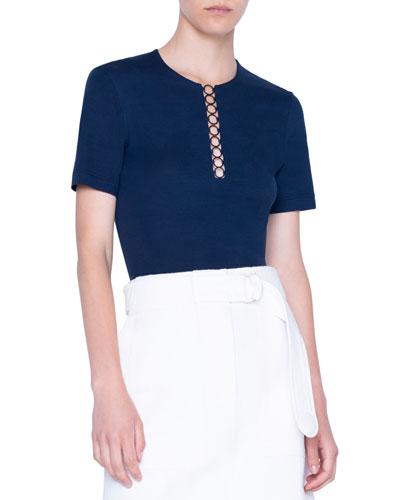 Jersey Chain-Neck Shirt
