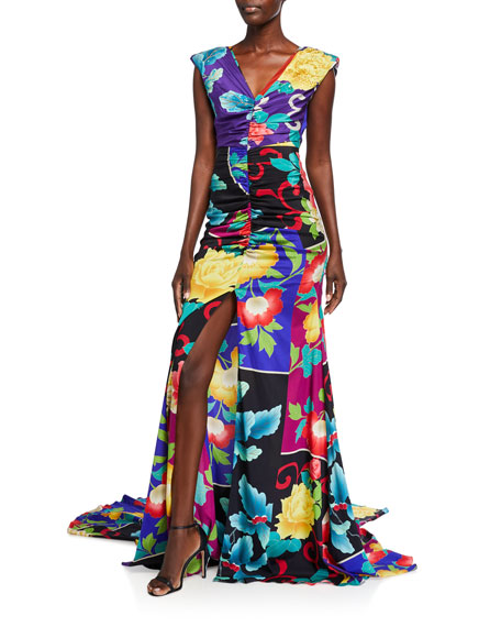 Etro Floral Patchwork Stretch Silk Gown