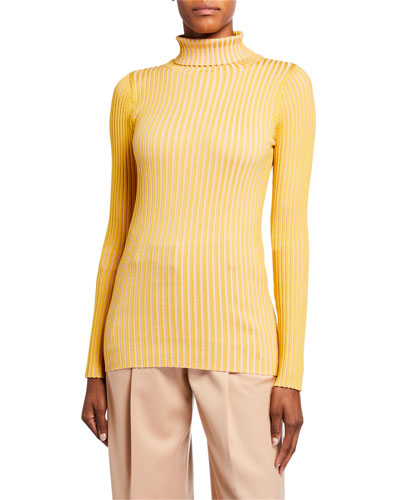 Silk Striped Turtleneck Sweater