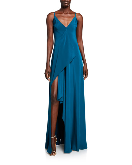 CUSHNIE Silk Deep-V Maxi Dress