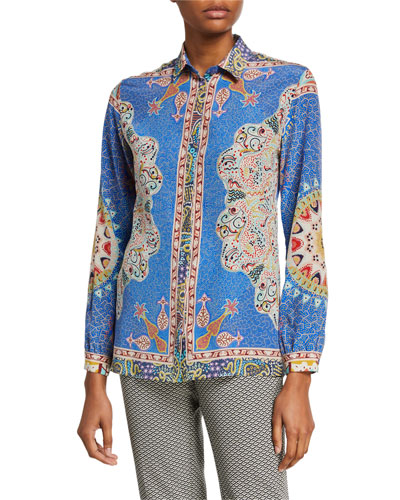 Pointillist-Paisley-Print Button-Front Shirt