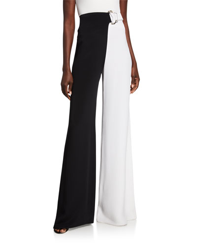Geometric D-Ring Belted High-Rise Wide-Leg Pants