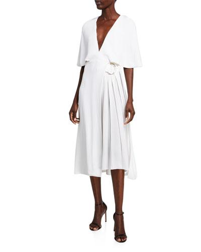 Cape-Sleeve Midi Dress
