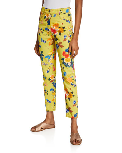 Allover Exotic Floral-Print Jeans