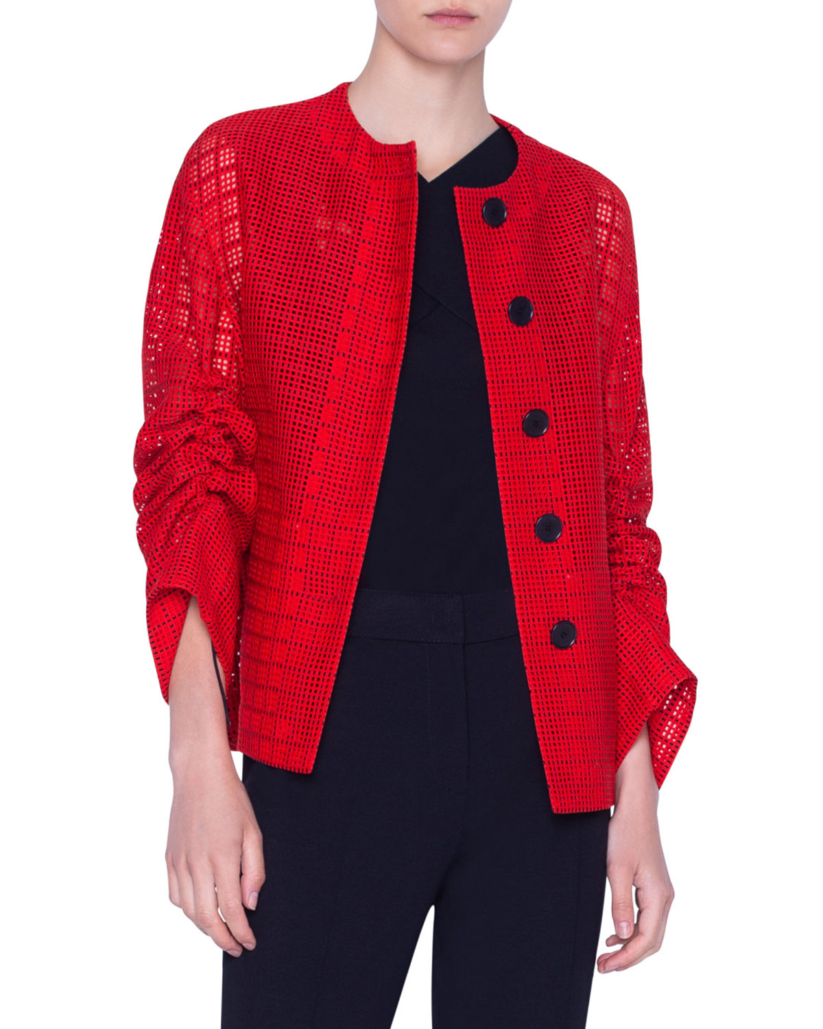 Akris Punto JACKET MESH LACE ROUND-NECK JACKET