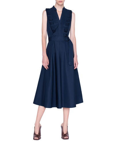 Plisse Cotton Midi A-Line Dress