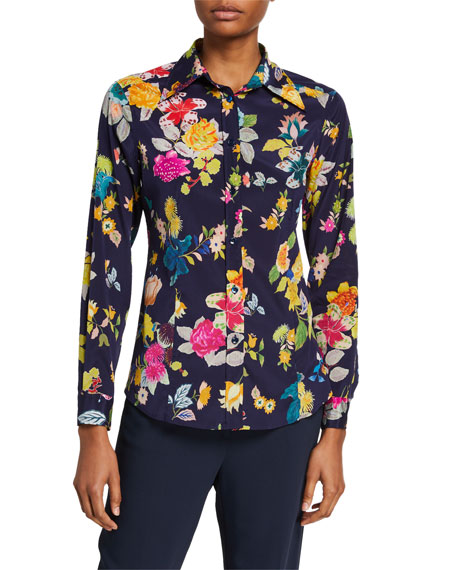 Etro Floral-Print Stretch Silk Shirt