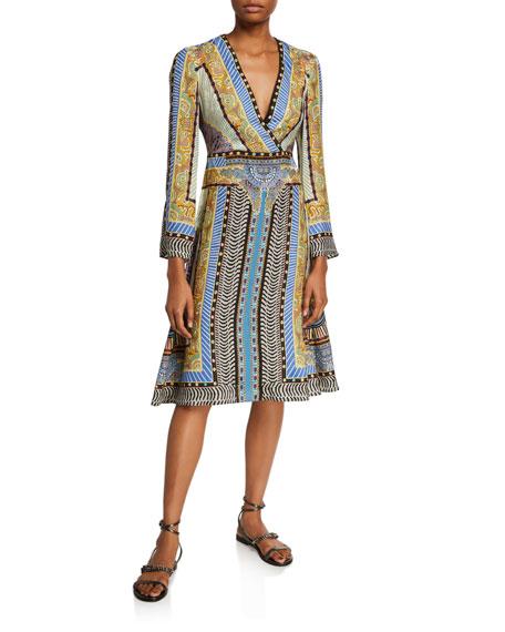 Etro Geometric Paisley Faux-Wrap Dress