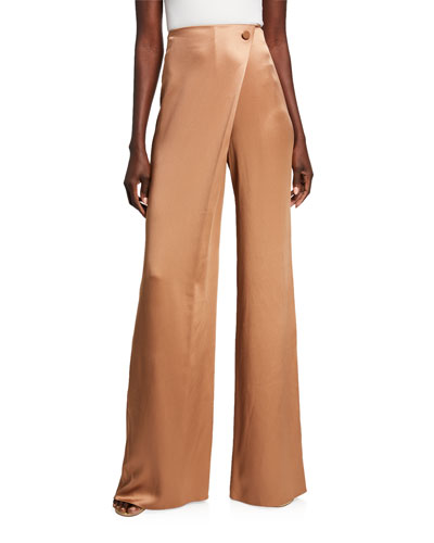 Double-Charmeuse High-Rise Wide Leg Pants