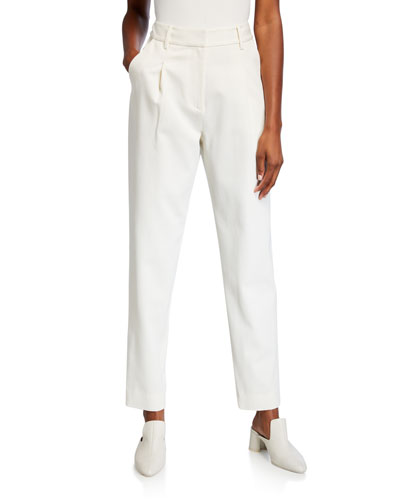 High-Rise Cotton/Wool Trousers