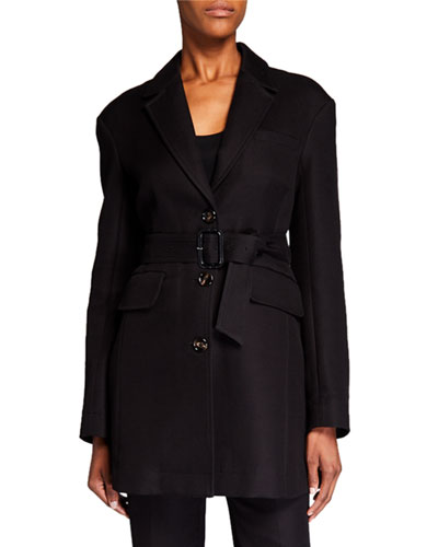 Cotton Blazer with Removable Belt