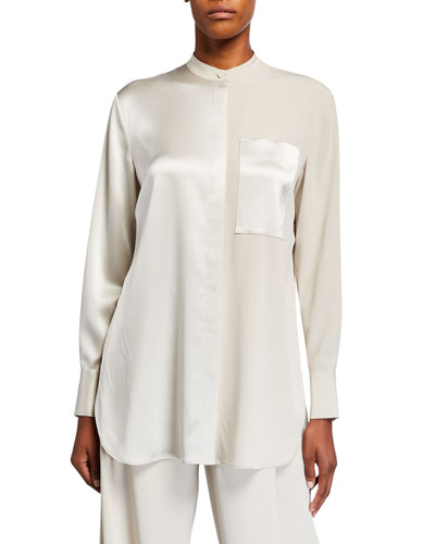 Satin & Georgette Banded Neck Shirt