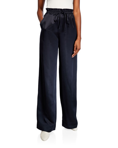 Satin Wide-Leg Lounge Pants