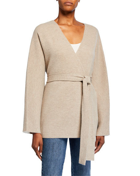 Co Wool-Cashmere Belted Cardigan
