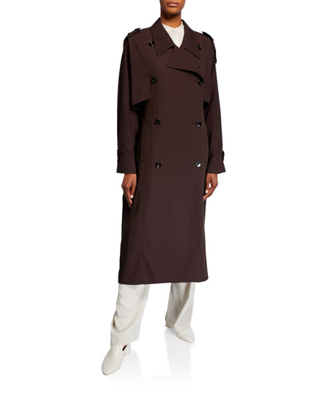 Co Nylon-Cotton Double-Breasted Trench Coat