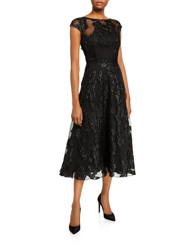 Boat-Neck Shimmered Lace Illusion Dress
