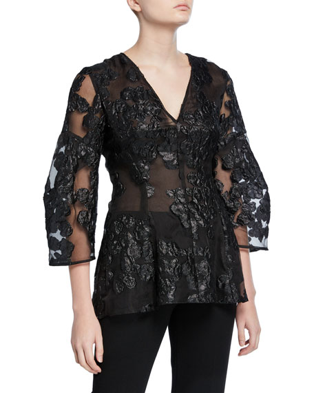 Lela Rose Lace Full-Sleeve V-Neck Blouse