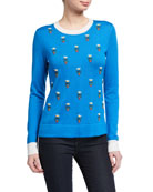 Carolina Herrera Floral Embroidered Cashmere-Silk Sweater