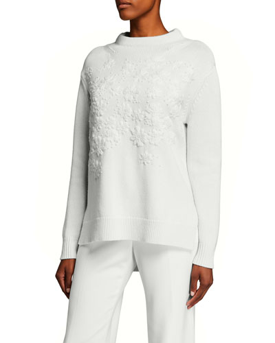Floral-Embroidered Knit Funnel-Neck Sweater