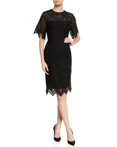 Lace Short-Sleeve Sheath Dress