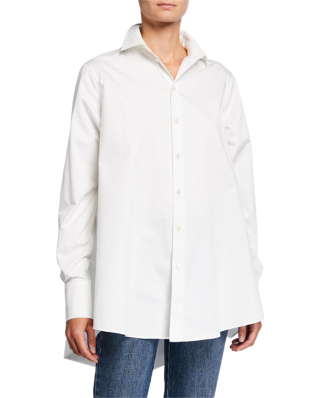 tton A-Line Button-Front Shirt